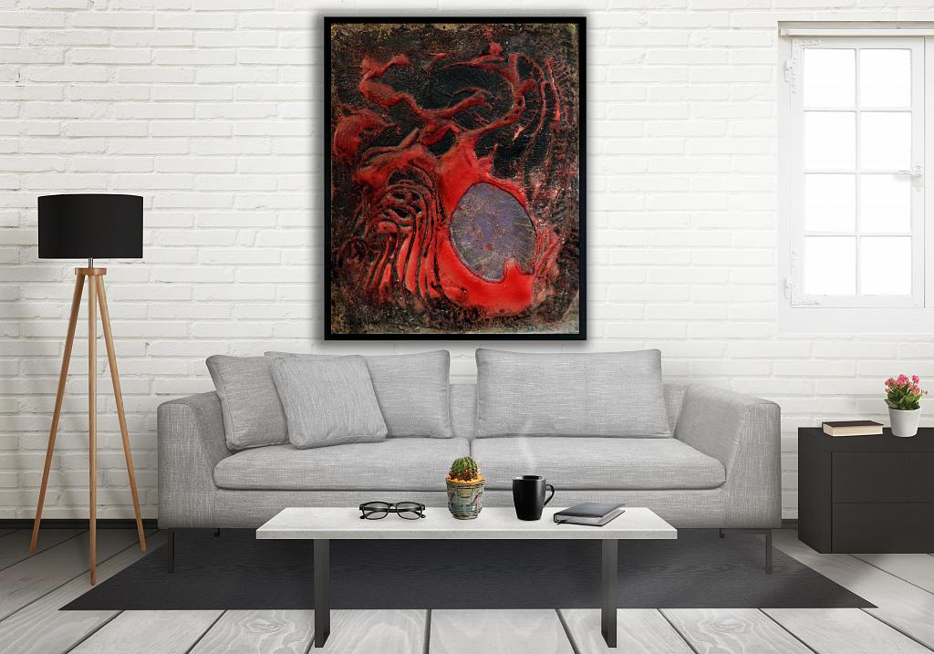 Embrione alieno - Massimo Di Stefano - mista su tavola di legno - 500 €