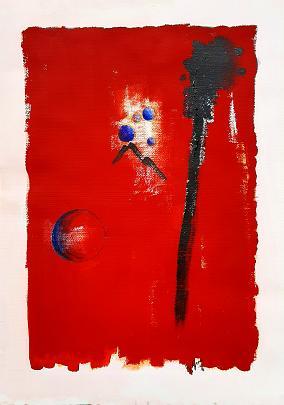 Concettuale in rosso - GIOVANNI GRECO - smalto,acrilico su cartoncino - 230 €