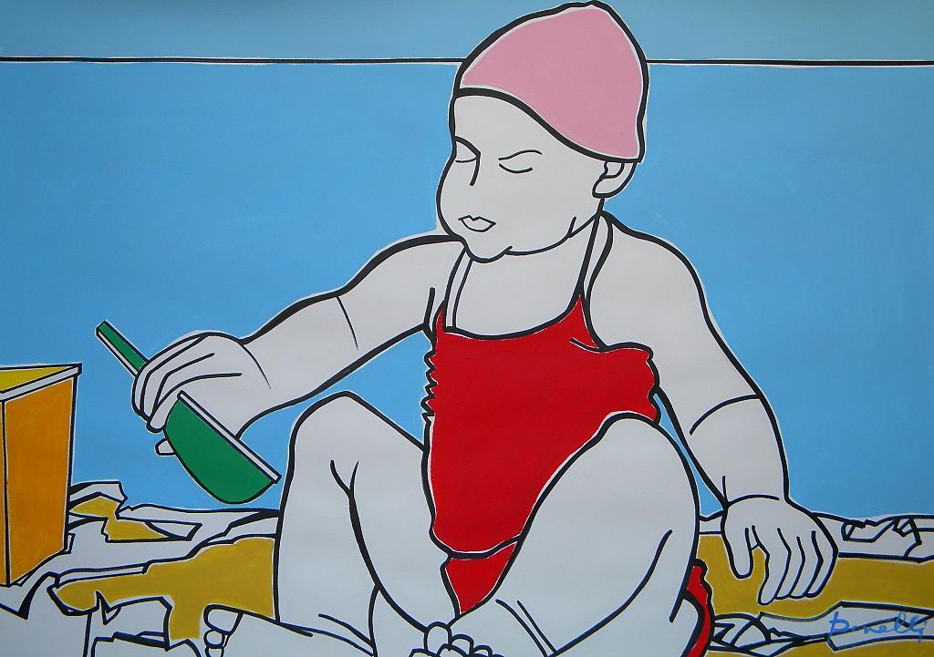 Bambina che gioca sulla spiaggia  - Gabriele Donelli - Acrilico - 600 €
