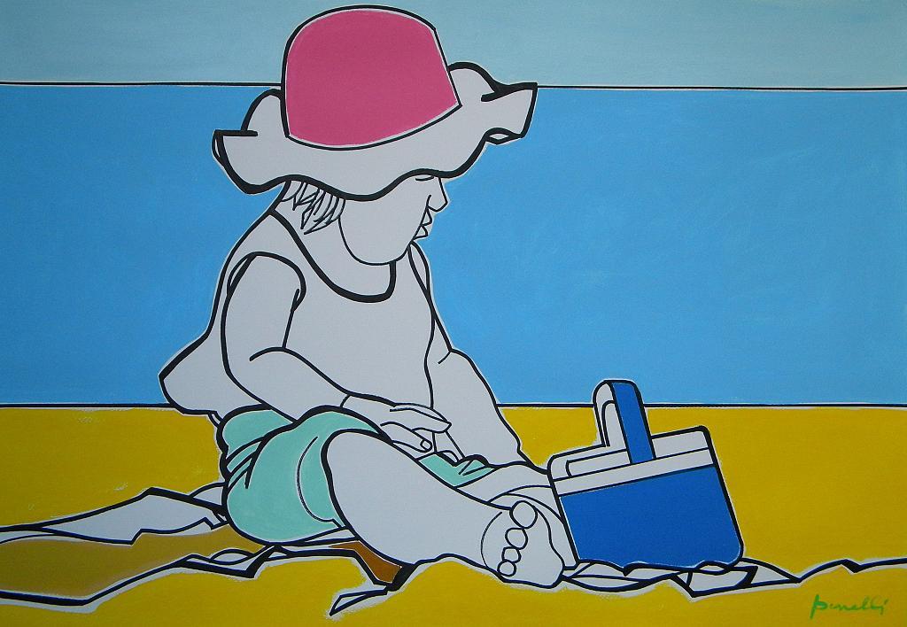Bambina che gioca sulla spiaggia  - Gabriele Donelli - Acrilico - 2400 €