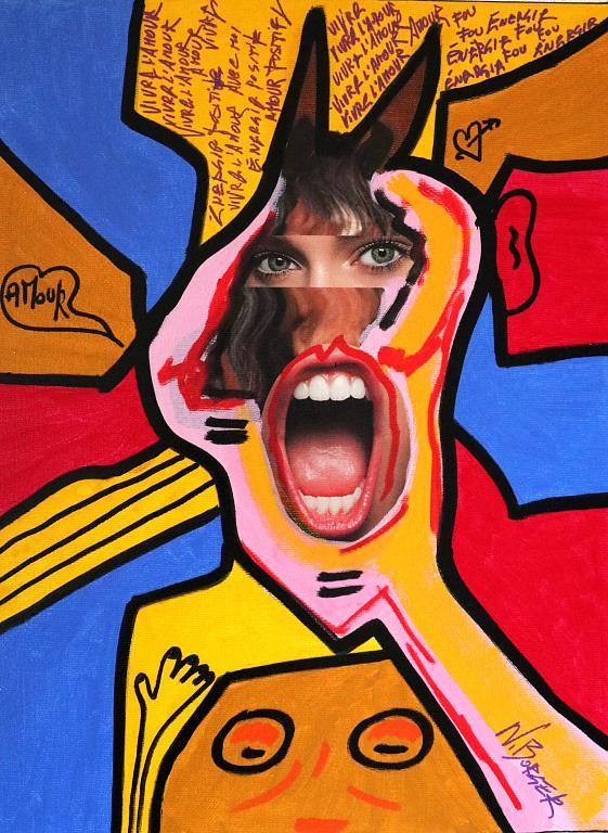 engergia folle - Noah Borger - acrilico e serigrafia su tela - 250 €