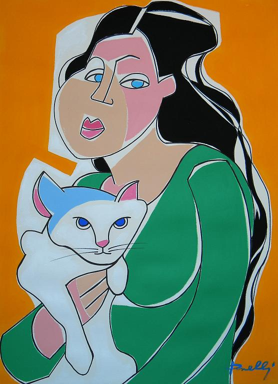 Ragazza con il gatto - Gabriele Donelli - Acrilico - 1400 €