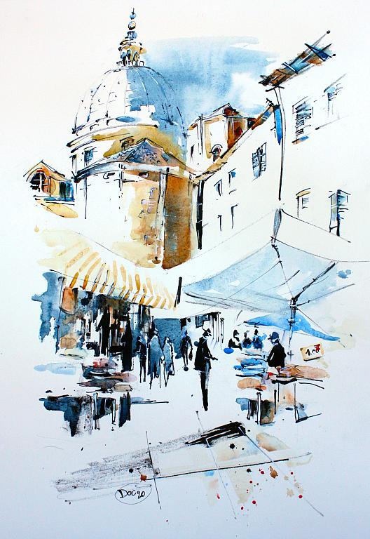 Piazza Piccola5 - Guido Ferrari - acquerello e inchiostro acrilico - 350 €