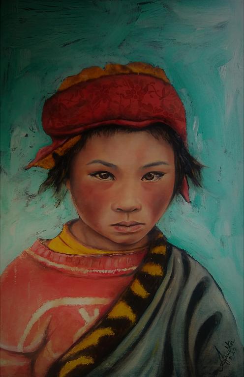 bambino nepalese - anna casu - Olio