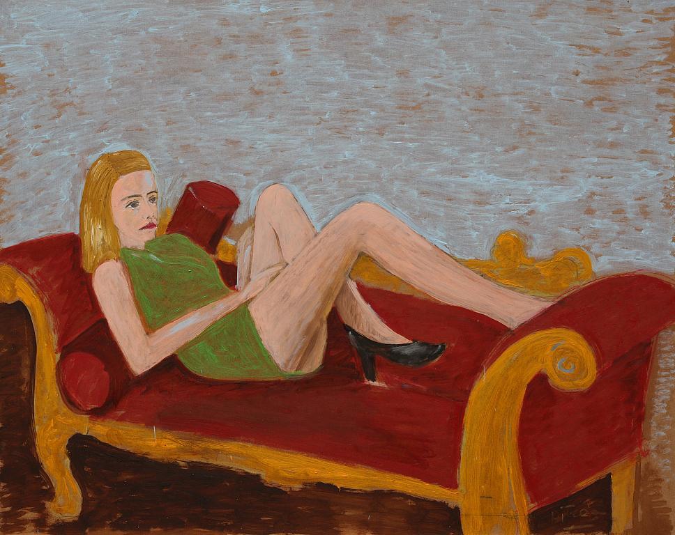 sul divano rosso - Nino Di Troia - Olio - 900 €