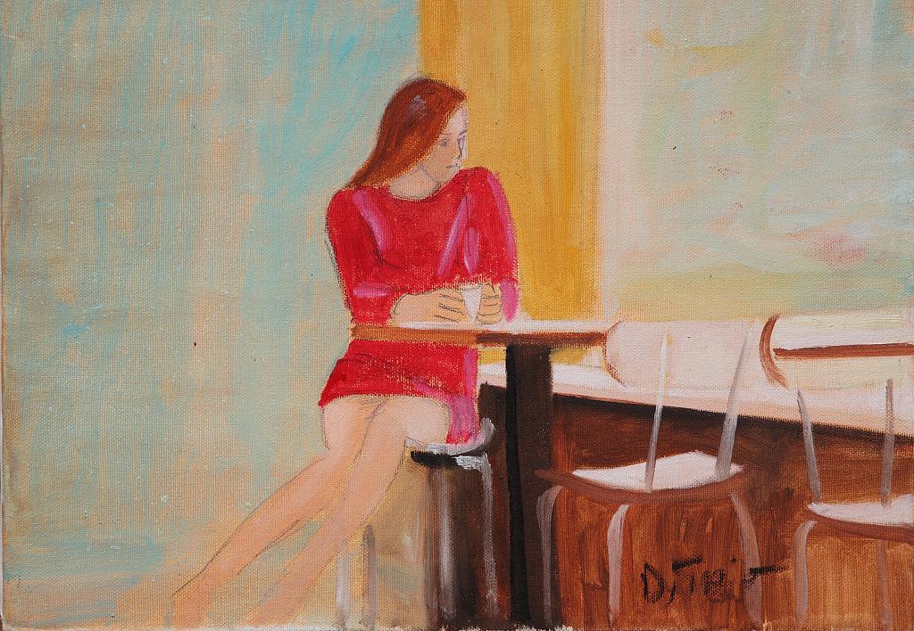 seduta al bar - Nino Di Troia - Olio - 250 €