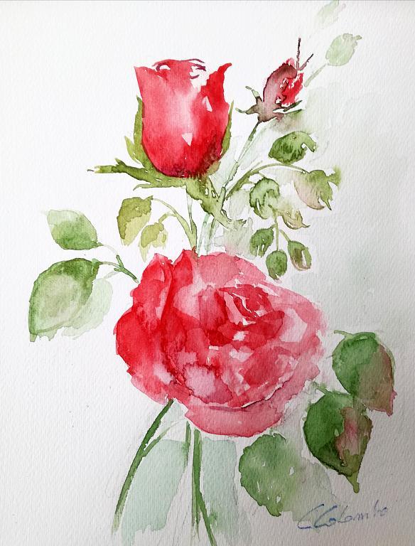 Rose rosse per te  - Carla Colombo - Acquerello - 45 €