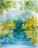 contrasts on the river - Carla Colombo - Watercolor - 80€