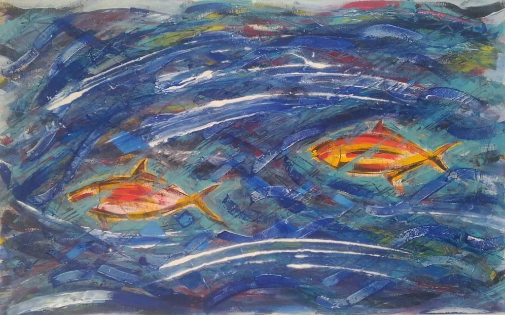 Pesci in mare - Girolamo Peralta - Olio - acrilico - Stucco - 350 €