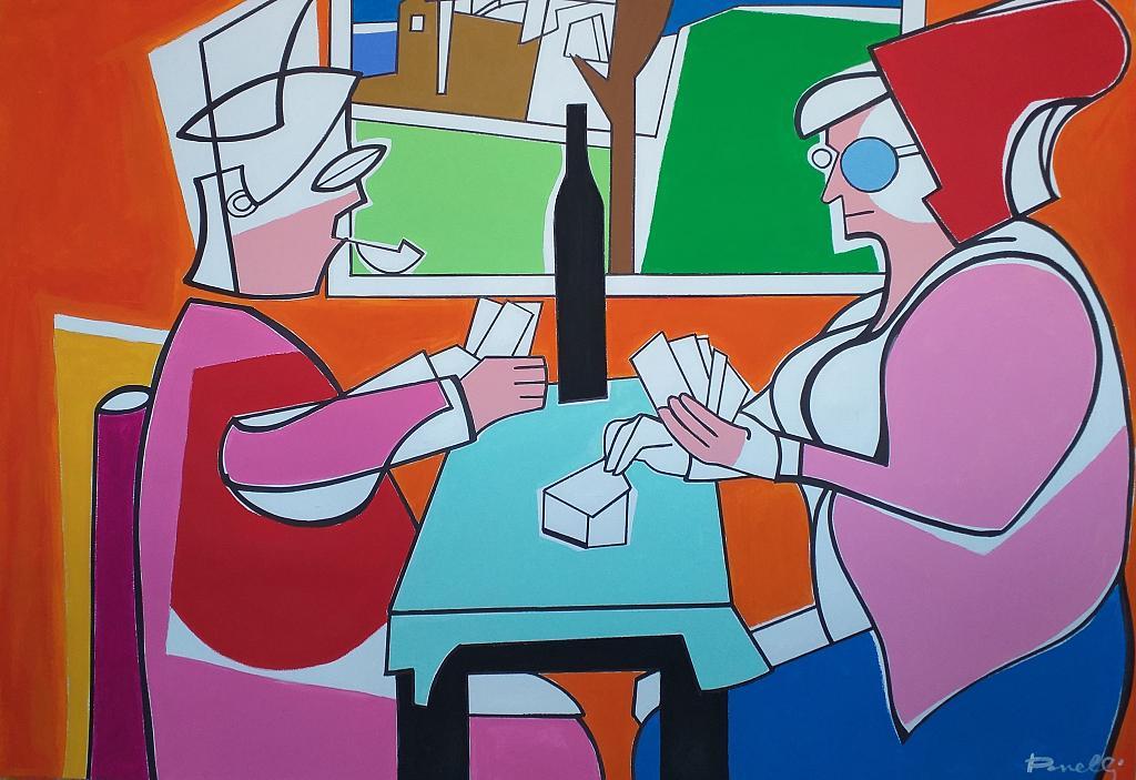 Les joueurs de cartes - Gabriele Donelli - Acrilico - 2600 €