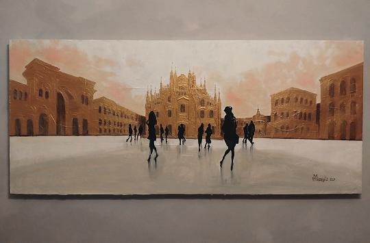 Milano , Piazza Duomo 2021 -  MAURIZIO MISSAGLIA - Acrilico