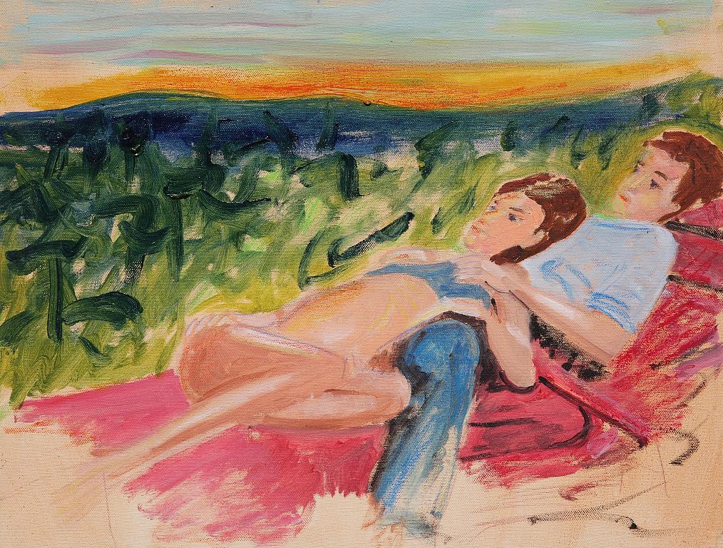 coppia e tramonto - Nino Di Troia - Olio - 200 €