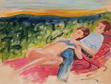 coppia e tramonto - Nino Di Troia - Olio - 200€