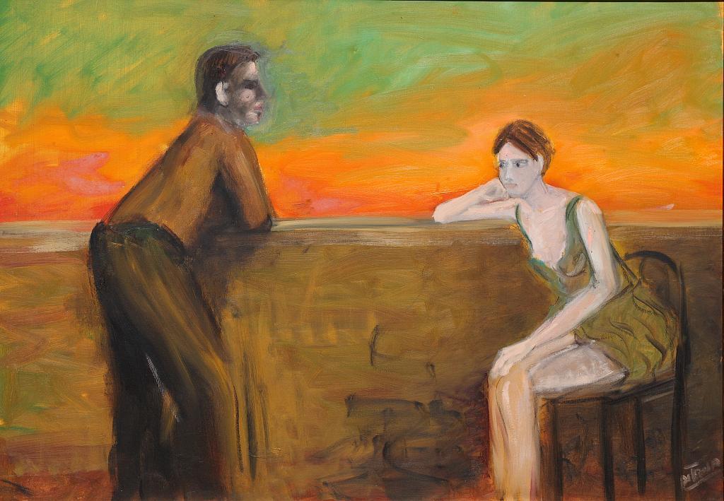 coppia e trammonto - Nino Di Troia - Olio - 600 €