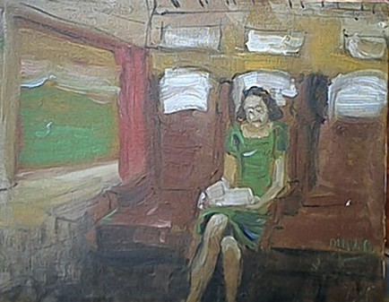 la signora del treno - Nino Di Troia - Olio - 150 €