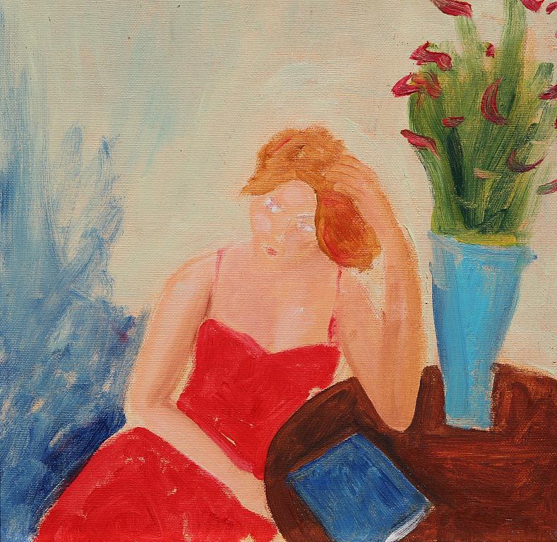 seduta al tavolo con i fiori - Nino Di Troia - Olio - 100 €