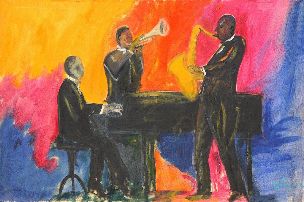 orchestra jazz - Nino Di Troia - Olio - 600 €