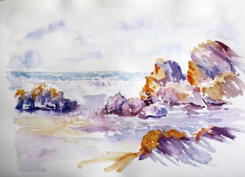 Il mare urla, fra gli scogli  - Carla Colombo - Acquerello - 95 €