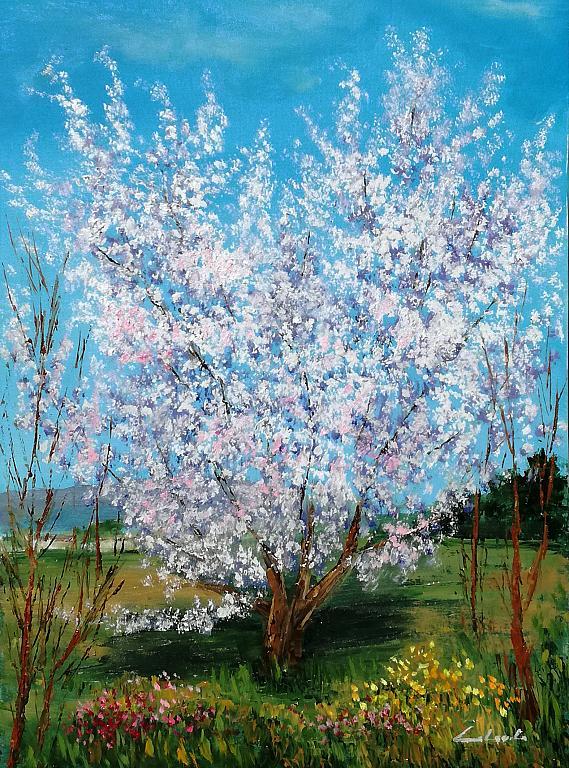 Esplosione del prugno in fiore  - Carla Colombo - Olio
