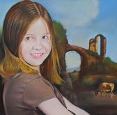 bambina con paesaggio classico - Claudio Apparuti - Pastelli - 200€