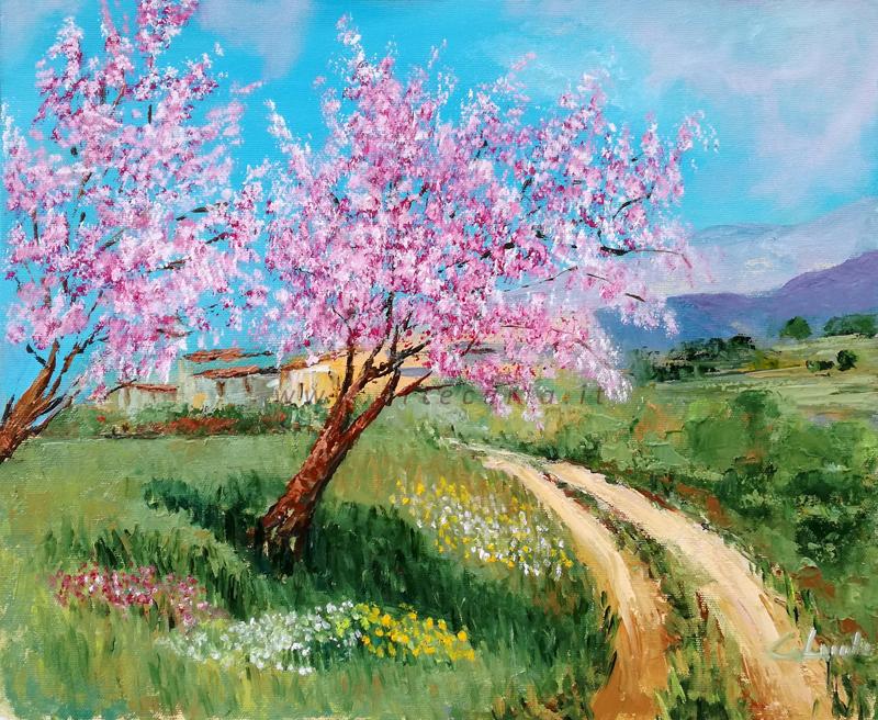 Benvenuta primavera, i peschi sono in fiore  - Carla Colombo - Olio - 395 €