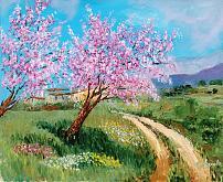 Benvenuta primavera, i peschi sono in fiore  - Carla Colombo - Olio - 395€