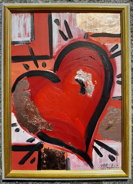 I Love You  - Luana Marchisio - Colori ad olio e foglia oro su cartoncino - 100 €