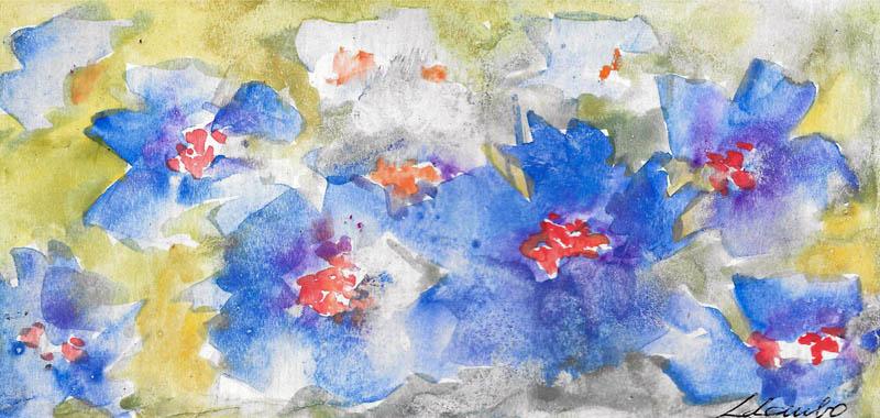 Esplosione d'azzurro - Prezzo speciale - Carla Colombo - Acquerello - 18 €