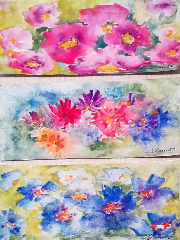 Esplosione di fiori - Prezzo speciale tris - Carla Colombo - Acquerello - 48 €