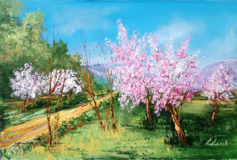 Benvenuta primavera 2, i peschi sono in fiore  - Carla Colombo - Olio - 420 €