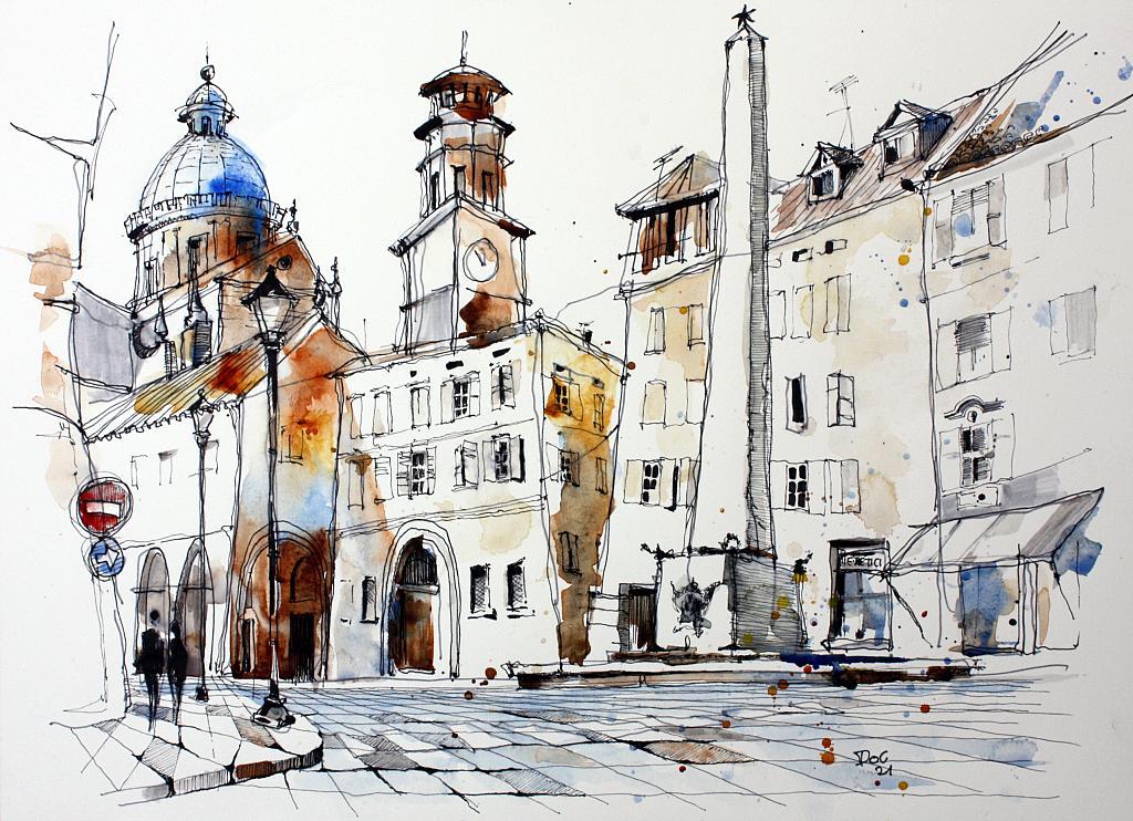 L'OBELISCO - Guido Ferrari - Acquerello - 350 €