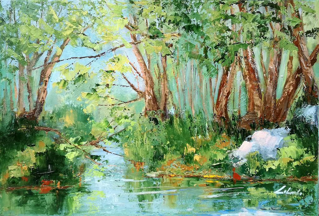 Un attimo di serenità - lungo il mio fiume Adda  - Carla Colombo - Olio - 420 €