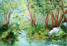 Attimo di serenità - lungo il mio fiume Adda  - Carla Colombo - Olio - 420€