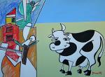 Paesaggio con la mucca  - Gabriele Donelli - Pastello e acrilico - 1300 euro