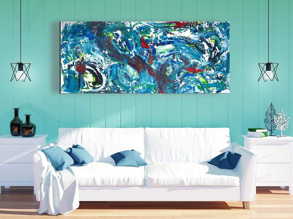 Deep sea, 200x90 cm - Davide De Palma - Action painting - 850 €
