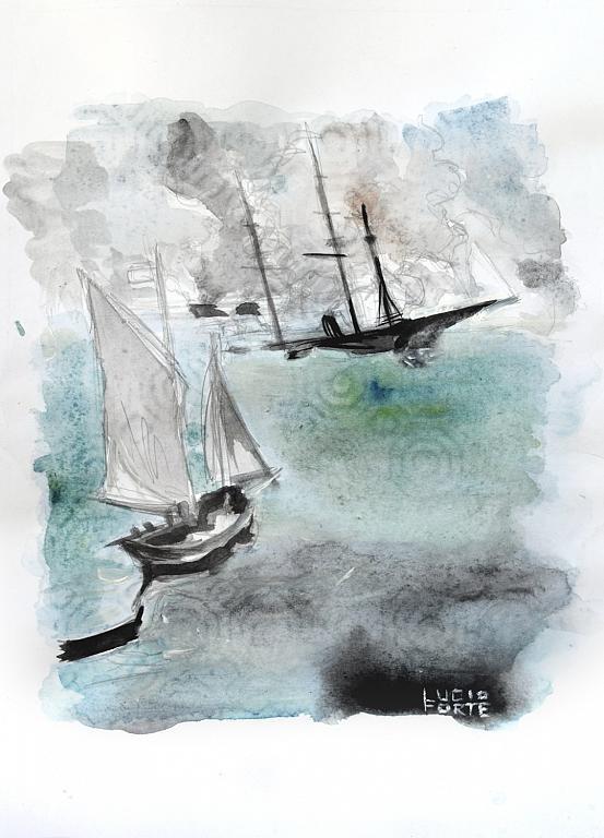 Battle of Kearsarge and Alabama - Lucio Forte - Acquerello - 79 €