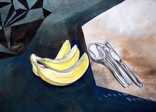 Bananas - Lucio Forte - Acquerello, china, matite e acrilico su carta - 98 €