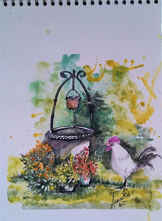Il mio  pozzo e il gallo finto - anna casu - Acquerello