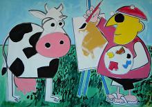 Il pittore e la mucca - Gabriele Donelli - Tempera - 1600€