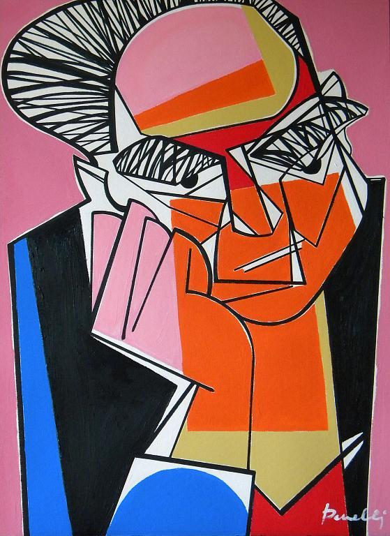 Ritratto di Alberto Moravia  - Gabriele Donelli - Acrilico - 2100 €