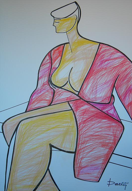 Ragazza seduta - Gabriele Donelli - Pastelli - 1400 €