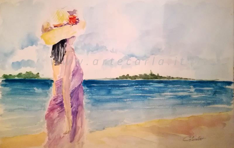 Lungo la spiaggia...e ti penso . OFFERTA SPECIALE   - Carla Colombo - Acquerello - 45 €