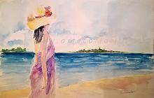 Lungo la spiaggia...e ti penso . OFFERTA SPECIALE   - Carla Colombo - Acquerello - 45€