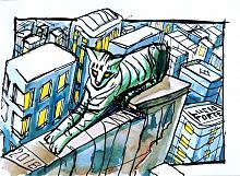 Green Cat - Lucio Forte - China a pennino e acquerello su carta - € - Venduto!