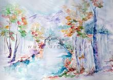 Soffice neve sugli ultimi colori d'autunno  - Carla Colombo - Acquerello - €