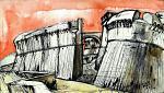 Sarzanello Fortress 2 - Lucio Forte - China, acrilico ed acquerello su tela - 209 €