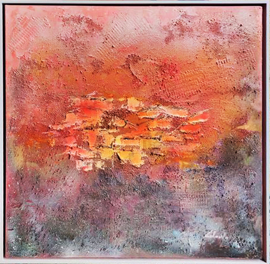 Tracce di un sogno a colori  - Carla Colombo - olio, sabbia  -  €