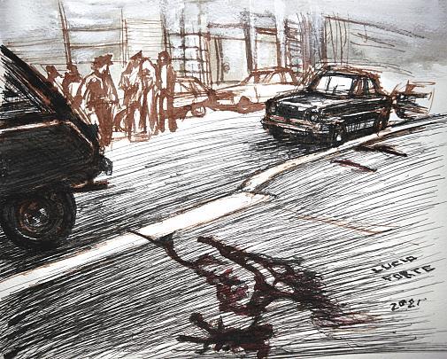 Milano, murder of Dr. Marchetti - Crime News - Lucio Forte - China, acrilico ed acquerello su carta - 80 €