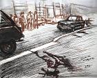 Milano, murder of Dr. Marchetti - Crime News - Lucio Forte - China, acrilico ed acquerello su carta - 80€