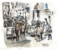 Palermo 1982 - Crime News - Lucio Forte - Acquerello - 120€
